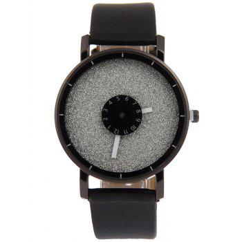 Double Dial Plate Faux Leather Watch