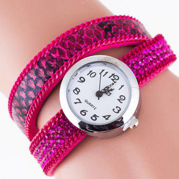 Vintage Rhinestone Faux Leather Bracelet Watch