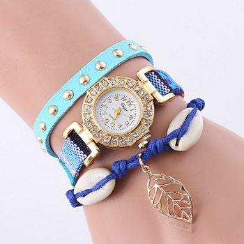 Rhinestone Conch Leaf Bracelet Quartz Watch
