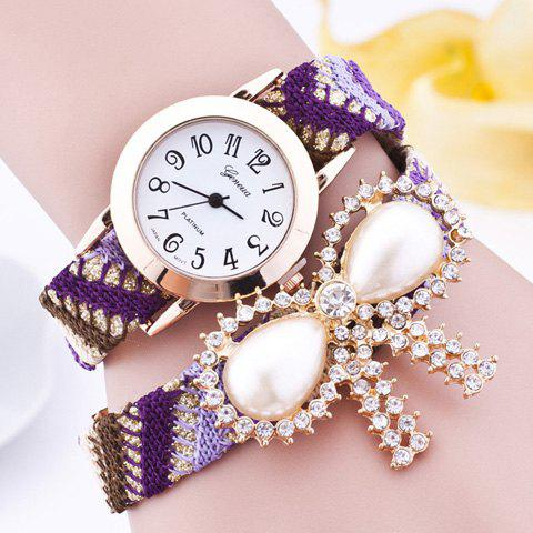 Rhinestone Artificial Pearl Bows Bracelet Watch grey lace details stripe round neck cami