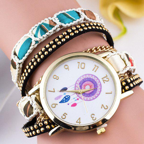 Feather Circle Dial Plate Bracelet Watch