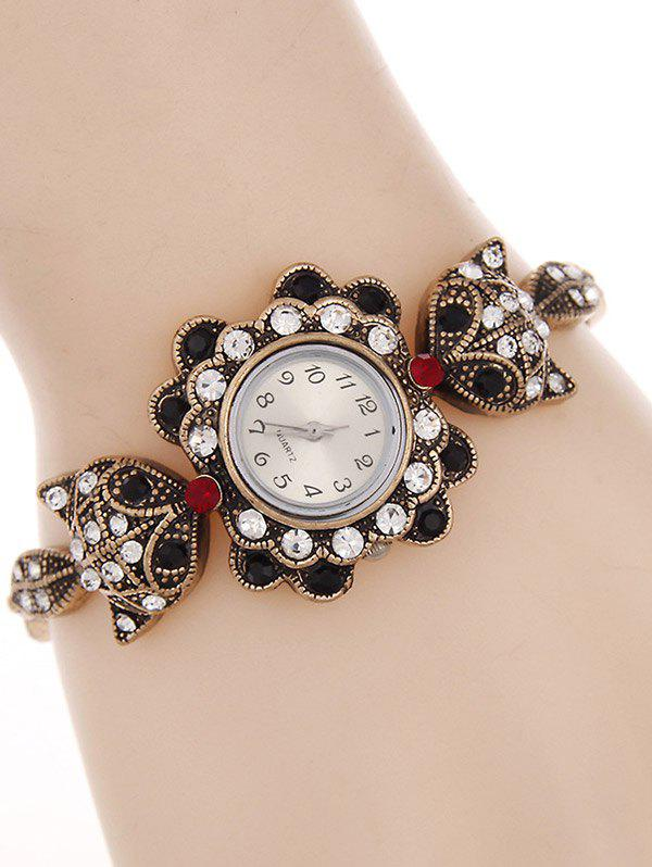 Vintage Alloy Rhinestone Fox Bracelet Watch - BLACK