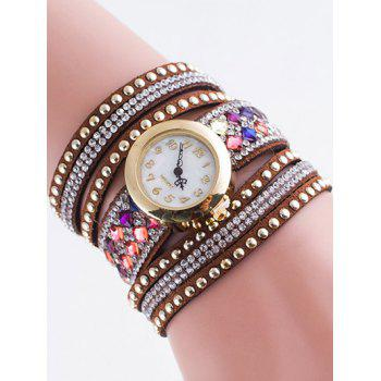 Layered Rhinestone Rivet Bracelet Watch