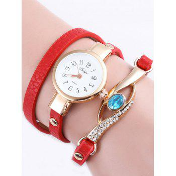 PU Leather Layered Polished Faux Gem Eye Watch