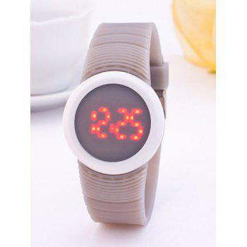 LED Digital Sport Round Silicone Watch - LIGHT GRAY LIGHT GRAY