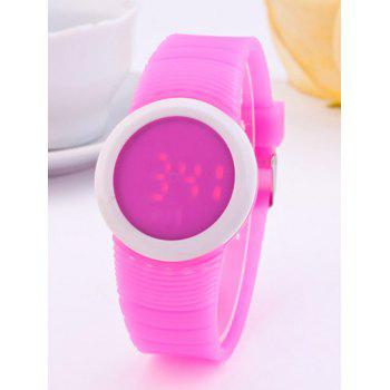 LED Digital Sport Round Silicone Watch - PLUM PLUM