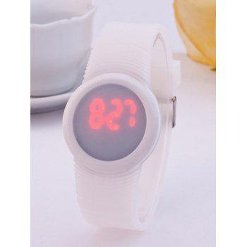 LED Digital Sport Round Silicone Watch - WHITE WHITE