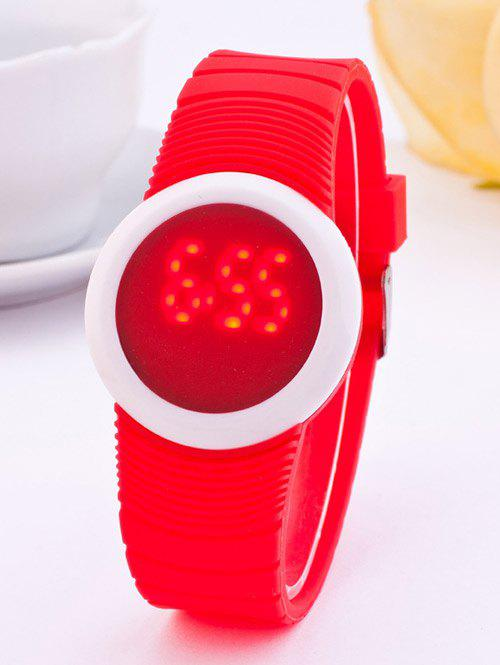LED Digital Rond Sportif Montre de Silicone - Rouge
