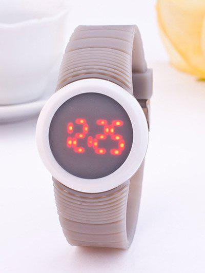 LED Digital Rond Sportif Montre de Silicone - Gris Clair
