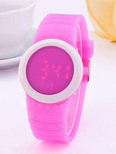 LED Digital Sport Round Silicone Watch - PLUM