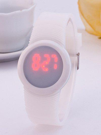 LED Digital Sport Round Silicone Watch - WHITE