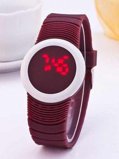 LED Digital Sport Round Silicone Watch - CLARET