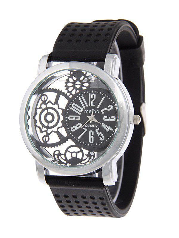 Analog Silicone Roman Numerals Quartz WatchWatches<br><br><br>Color: BLACK