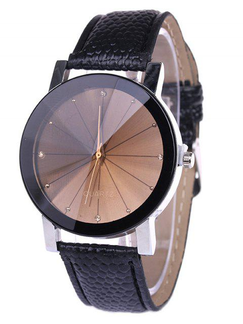 Personality Analog PU Leather Quartz Watch - BLACK