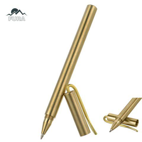 FURA Portable Brass Tactical Gel Pen with Black Refill - GOLDEN POLISHING SURFACE