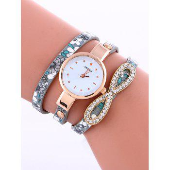 Casual Layered Infinity Rhinestone Watch - GRAY GRAY