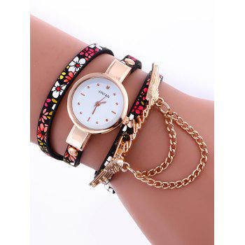 Casual Layered Chain Wings Watch - CERISE CERISE