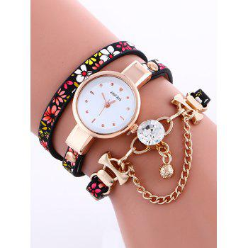 Casual Layered Chain Beaded Watch - RED RED