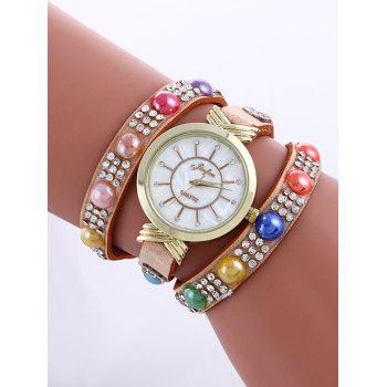 Casual Layered Multicolor Beads Rhinestone Watch