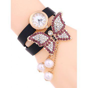 Casual Layered Rhinestone Butterfly Watch - BLACK BLACK
