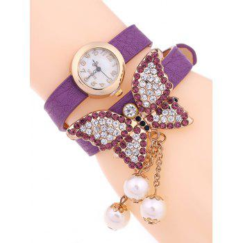 Casual Layered Rhinestone Butterfly Watch