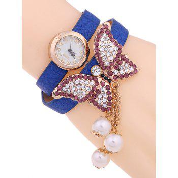 Casual Layered Rhinestone Butterfly Watch - BLUE BLUE