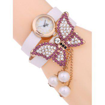 Casual Layered Rhinestone Butterfly Watch - WHITE WHITE