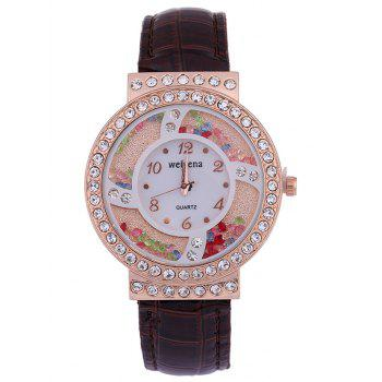 PU Leather Rhinestone Studded Colorful Beads Watch