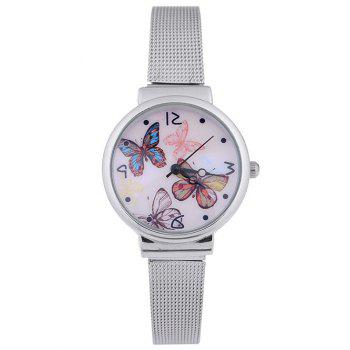 Colorful Butterflies Steel Band Quartz Watch