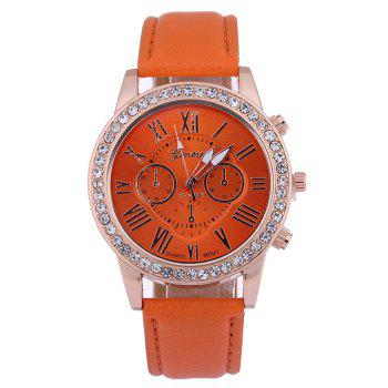 PU Leather Rhinestone Studded Numerals Quartz Watch