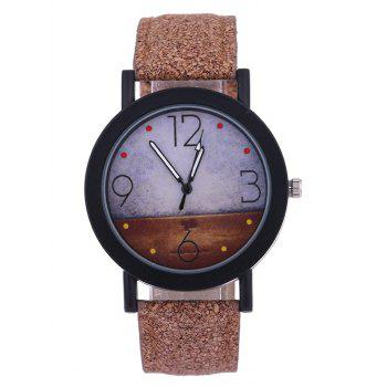 Quartz Watch with Round Dial Leather Watchband - BROWN BROWN