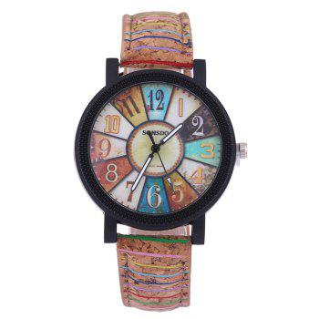 Coloré Analog Quartz Montre de PU Cuir