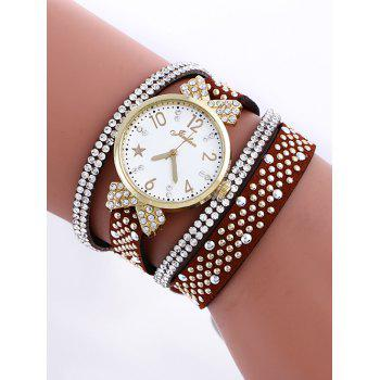 Casual Layered Rhinestone Star Watch - RED BROWN RED BROWN