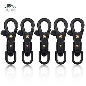 FURA 360 Degree Rotatable Rope Hook Multi-Functional Nylon Steel Fastener Clip - 5PCS