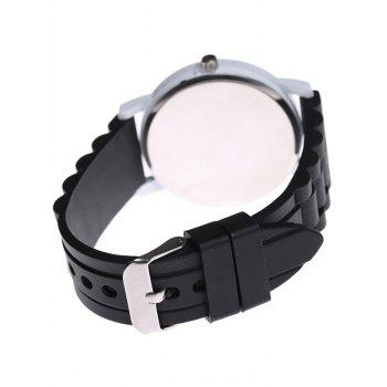 Casual Sport Round Silicone Watch -  BLACK