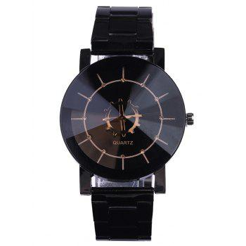 Stainless Steel Strap Couple Quartz Watch - BLACK