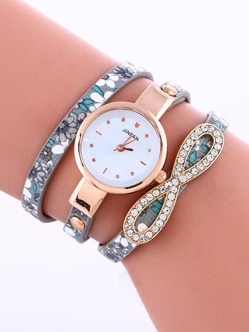 Casual Layered Infinity Rhinestone Watch - GRAY