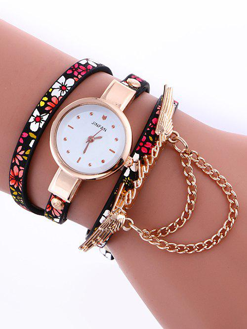 Casual Layered Chain Wings Watch - CERISE