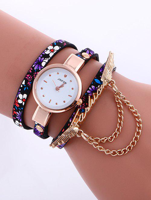 Casual Layered Chain Wings Watch - PURPLE