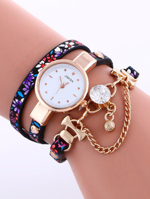 Casual Layered Chain Beaded Watch - PURPLE