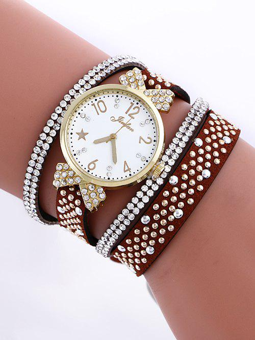 Casual Layered Rhinestone Star Watch - RED BROWN