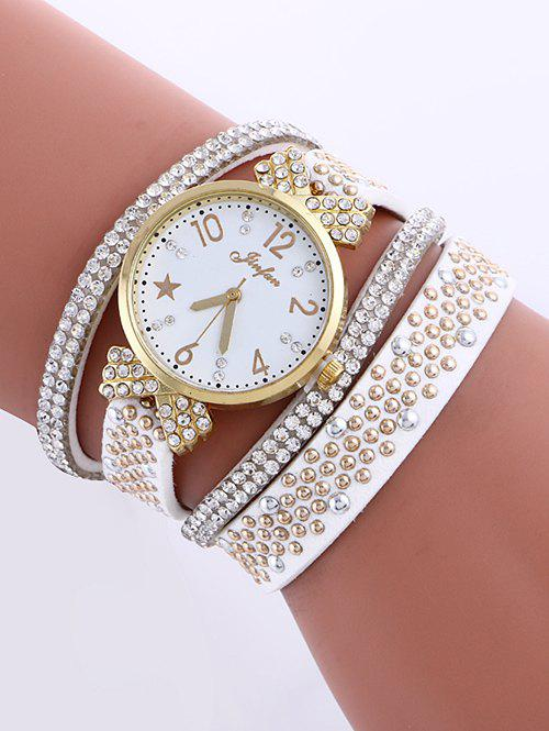 Casual Layered Rhinestone Star Watch - WHITE