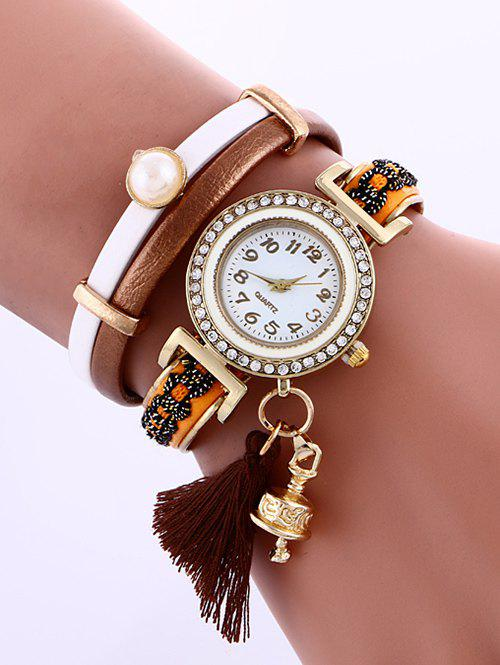 Casual Layered Faux Pearl Fringe Watch - DUN