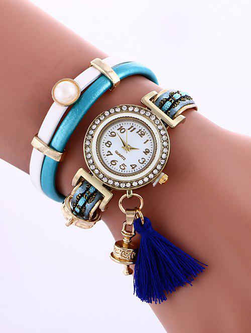 Casual Layered Faux Pearl Fringe Watch - LAKE BLUE