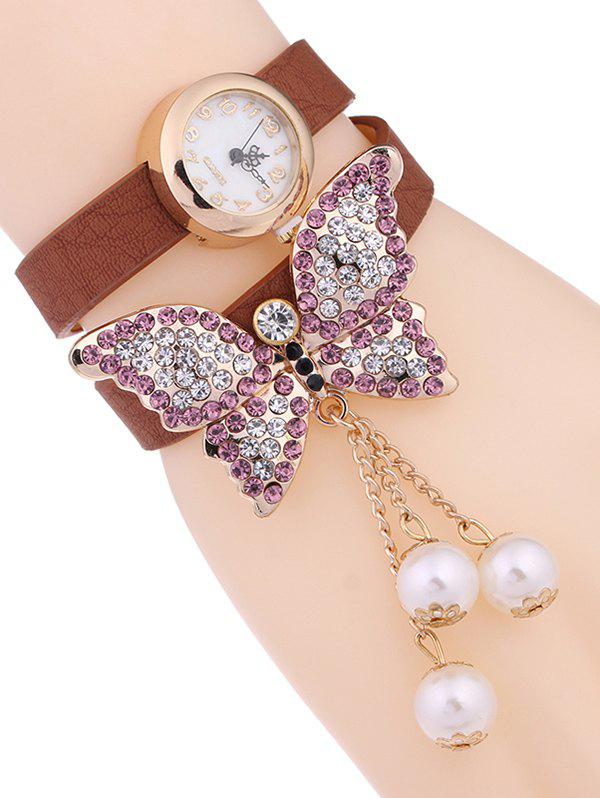 Casual Layered Rhinestone Butterfly Watch - ANTIQUE BROWN