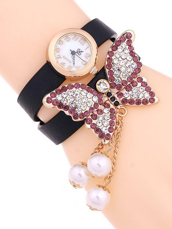 Casual Layered Rhinestone Butterfly Watch - BLACK