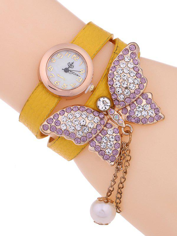 Casual Layered Rhinestone Butterfly Watch - EARTHY