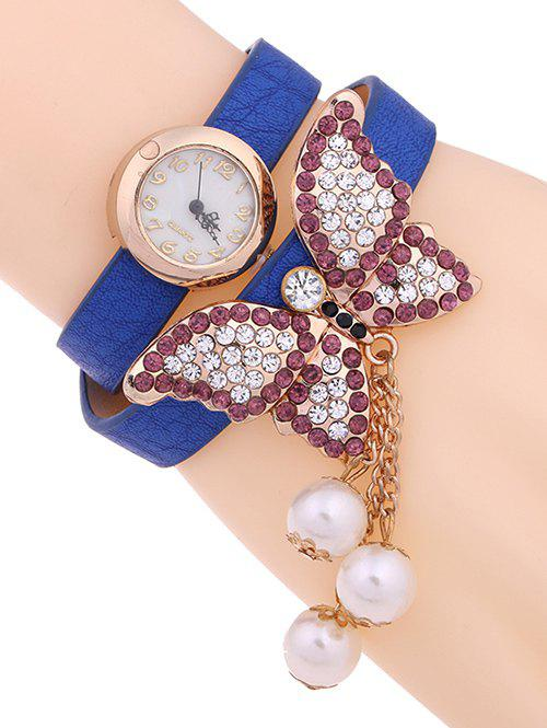 Casual Layered Rhinestone Butterfly Watch - BLUE