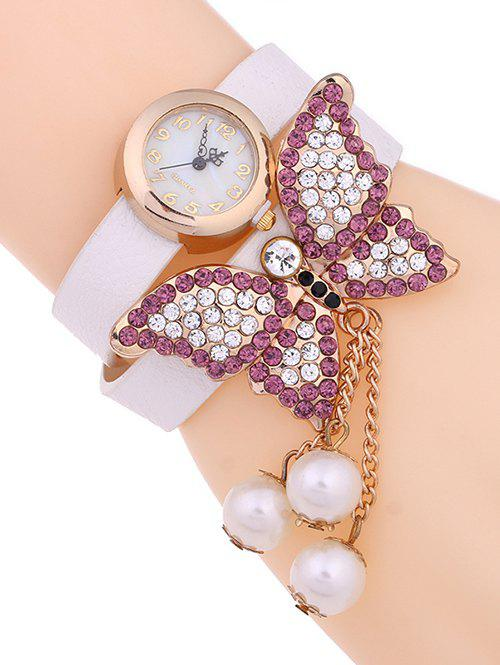 Casual Layered Rhinestone Butterfly Watch - WHITE