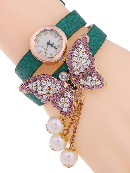 Casual Layered Rhinestone Butterfly Watch - GREEN